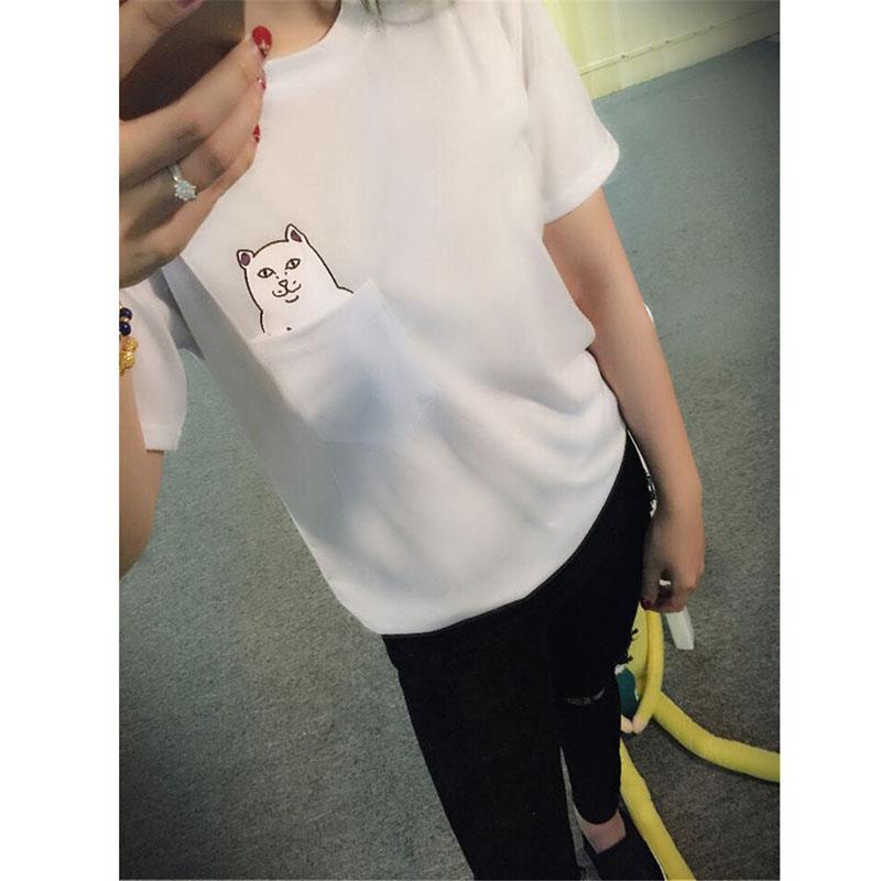 New Arrival Hong Kong Fashion Pocket Harajuku Wild Cat Lovers Big Yards Women Wear Short-Sleeved T-shirt(China (Mainland))