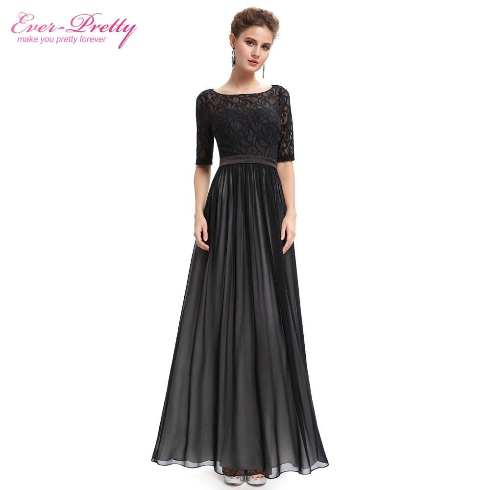 Evening Dresses HE09991 Ever Pretty 2016 New Arrival Gorgeous Special Occasion Half Sleeve Black Lace Maxi Backless Party Dress(China (Mainland))