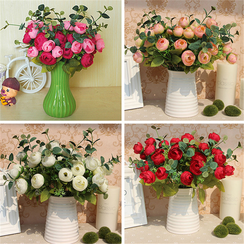 10 Heads Flowers Bouquet Artificial Silk Champagne Flower Table Spring Rose Hydrangea Wedding Home Decor