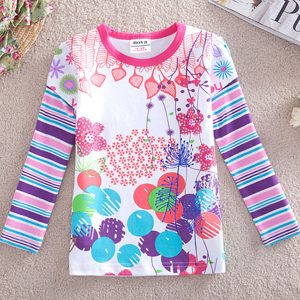 Free shipping high quality 5pcs/lot 100% cotton casual style girl's cartoon long sleeve t shirt for spring and autumn