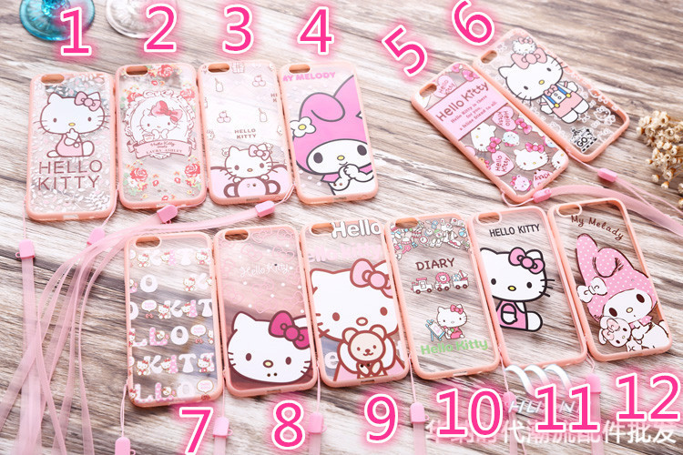 5DHL 2015 New TPU+PC pink Frame hello kitty back cover case Strap iphone 5s 6&6 plus
