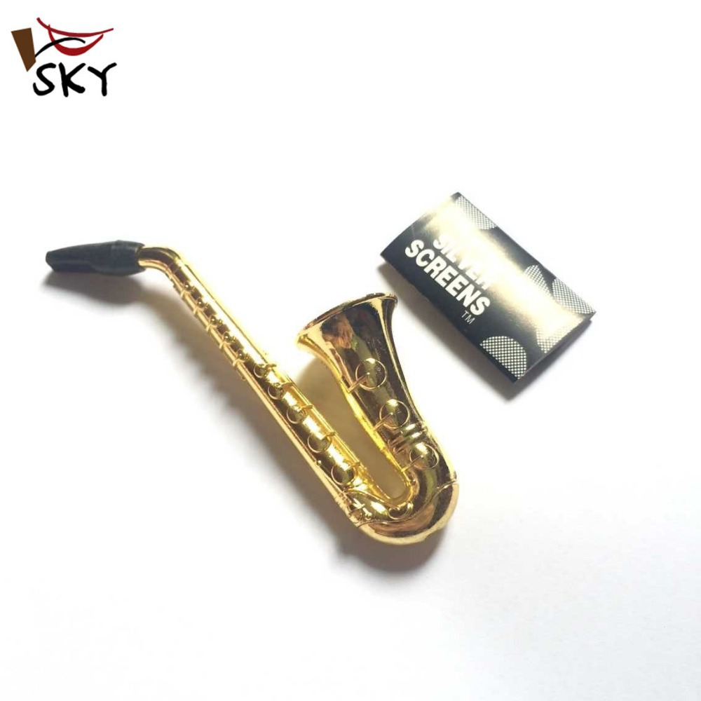 [SKY] Hot fashion small saxophone metal portable smoking pipes tobacco decoration pipe price MP-0019 - SKY set Firm Price store