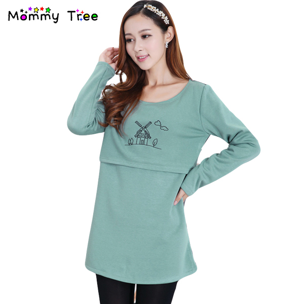 Fashion Thicken Velvet Warm Clothes for Pregnant Women Winter Casual Nursing Top Shirt Breastfeeding Clothing Maternity T Shirts