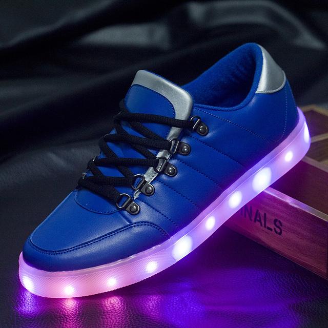 8 цветов из светодиодов световой унисекс кроссовки мужчины и женщины USB зарядка легкую обувь красочный светящийся отдыха на плоской подошве