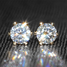 Genuine18K 750 Yellow Gold Push Back 1 Carat ct F Color Test  Positive Lab Grown Diamond Earrings(China (Mainland))