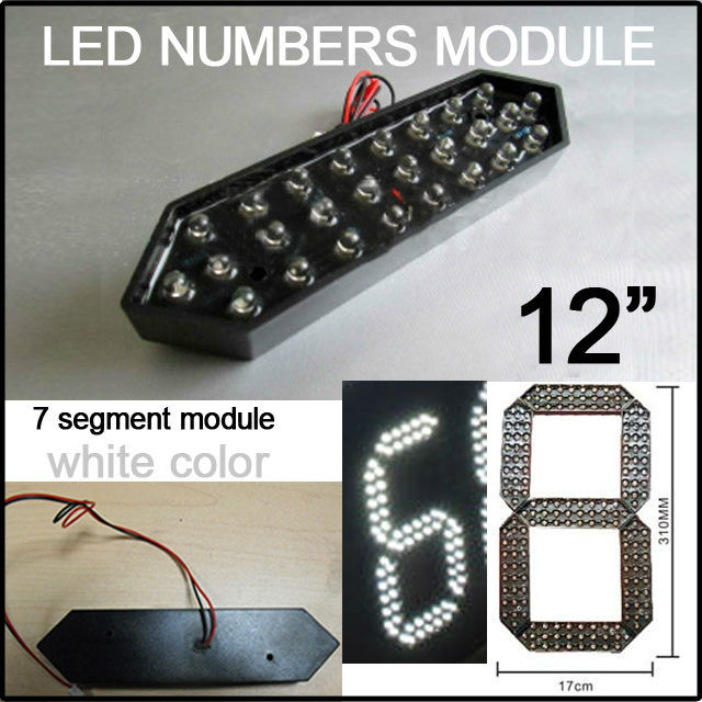 """12"""" White Color Digita Numbers,led Signs Outdoor Waterproof Module,led Gas Price,led Oil Price,7 Segment Of The Modules(China (Mainland))"""