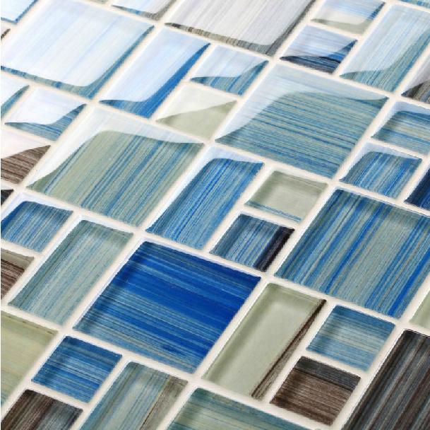 hand painted glass tile backsplash mediterranean sea