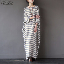 Buy Women Elegant Striped Print Dress 2017 Spring ZANZEA Casual Loose O Neck Batwing Sleeve Maxi Long Dress Vestidos Plus Size for $12.01 in AliExpress store
