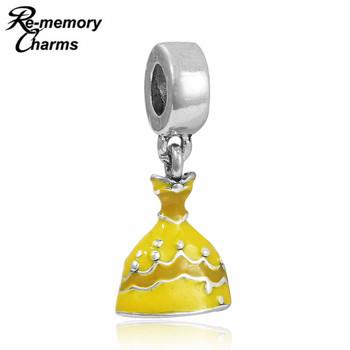 1PC Jewelry Silver Pendant Fashion DIY Charms European Enamel Yellow Princess Dress Bead Fit Charm Pandora Bracelet