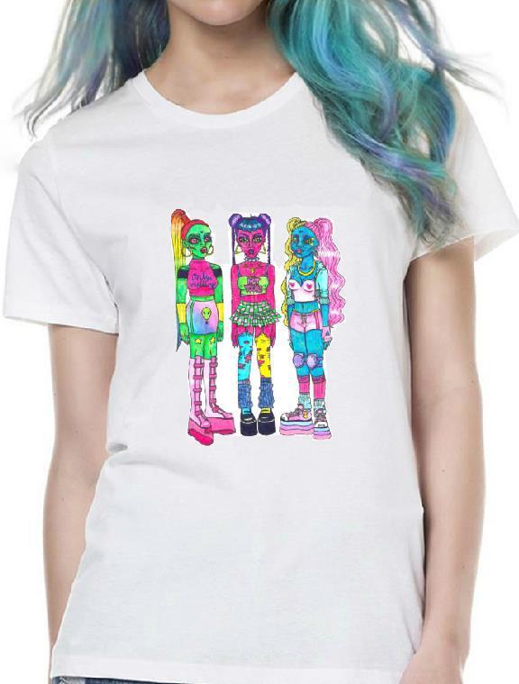 Fashion Women Tshirt Harajuku Space Girl Print Cotton