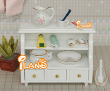 1:12 Dollhouse Miniature Furniture White Bathroom Cabinet(China (Mainland))