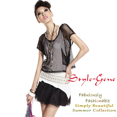 Fashion 2013 spring and summer female sexy twinset perspective shirt reticular t-shirt gauze short-sleeve top female
