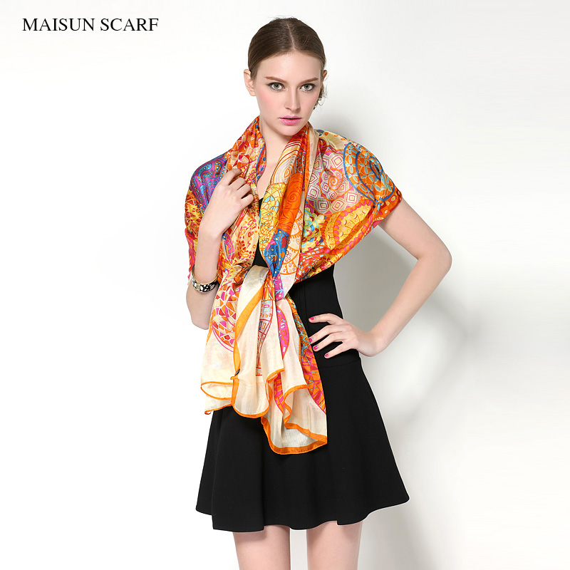 Big Size 180X110cm High Quality Spring Pure Silk Scarf Women 2015 New Style Fashion Ladies Long Shawl(China (Mainland))