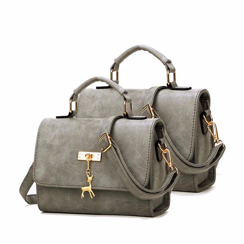 Nubuck Leather Crossbody Bag Succinct Square Bag Women Stylish PU Shoulder Bag Metallic Animal Ornament Ladies Small Handbag