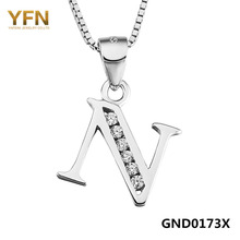 "YFN 2016 New Genuine 925 Sterling Silver Personalized Jewelry Initial Letter N Necklace Fashion Jewelry Crystal Necklace ""Nobel""(China (Mainland))"