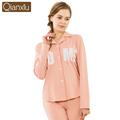 Autumn 2016 Women Pajama Set Knitted Cotton Full Sleeve Pyjamas Sleepwear Casual Polka Dot Pijima Turn