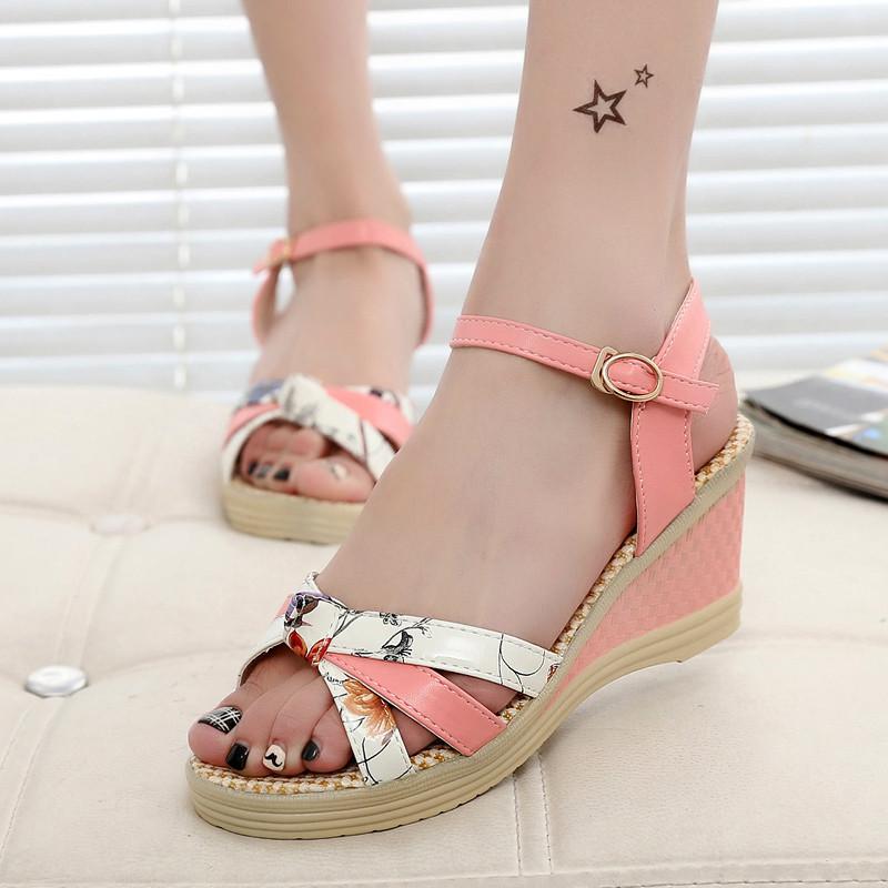 Free shipping 2017 Summer style Women sandals wedge female sandals high platform wedges platform open toe platform casual shoes