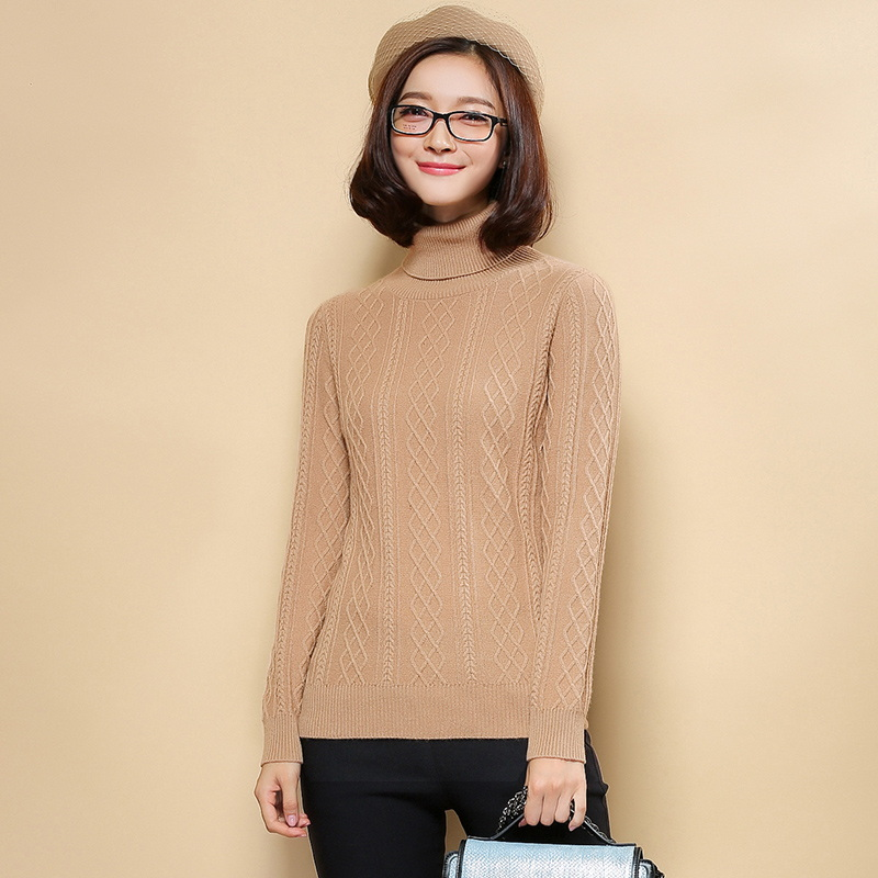 Women's Turn Down Turtleneck Knitted Cable Pullover 100% ...