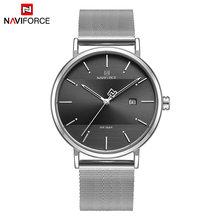 Casal relógios naviforce marca superior aço inoxidável relógio de pulso de quartzo para homens e mulheres moda casual presentes conjunto para venda(China)