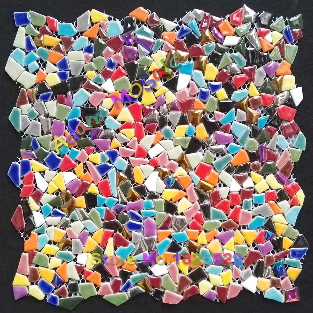backsplash Iridescent glass mosaic tiles art multi colored wall tiles