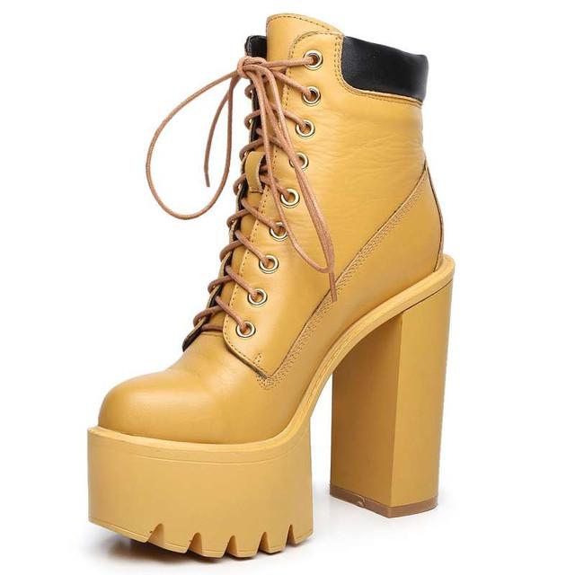 Красивые № 1 Продажа Зашнуровать Ботинки Подлинный Реальный Кожаный Туфли на платформе 3 Цвета Площадь И Супер Туфли На Высоких Каблуках леди
