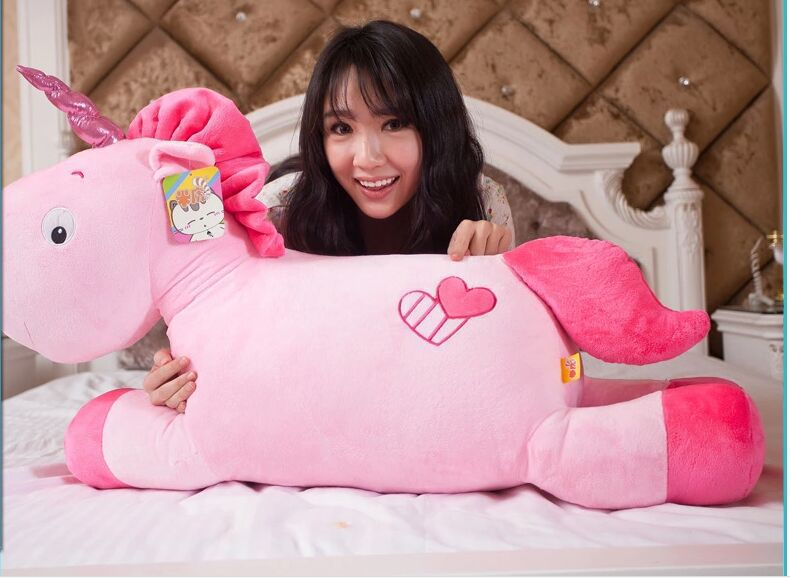 big new creative lovely plush pink unicorn toy stuffed horse doll pillow about 100cm(China (Mainland))