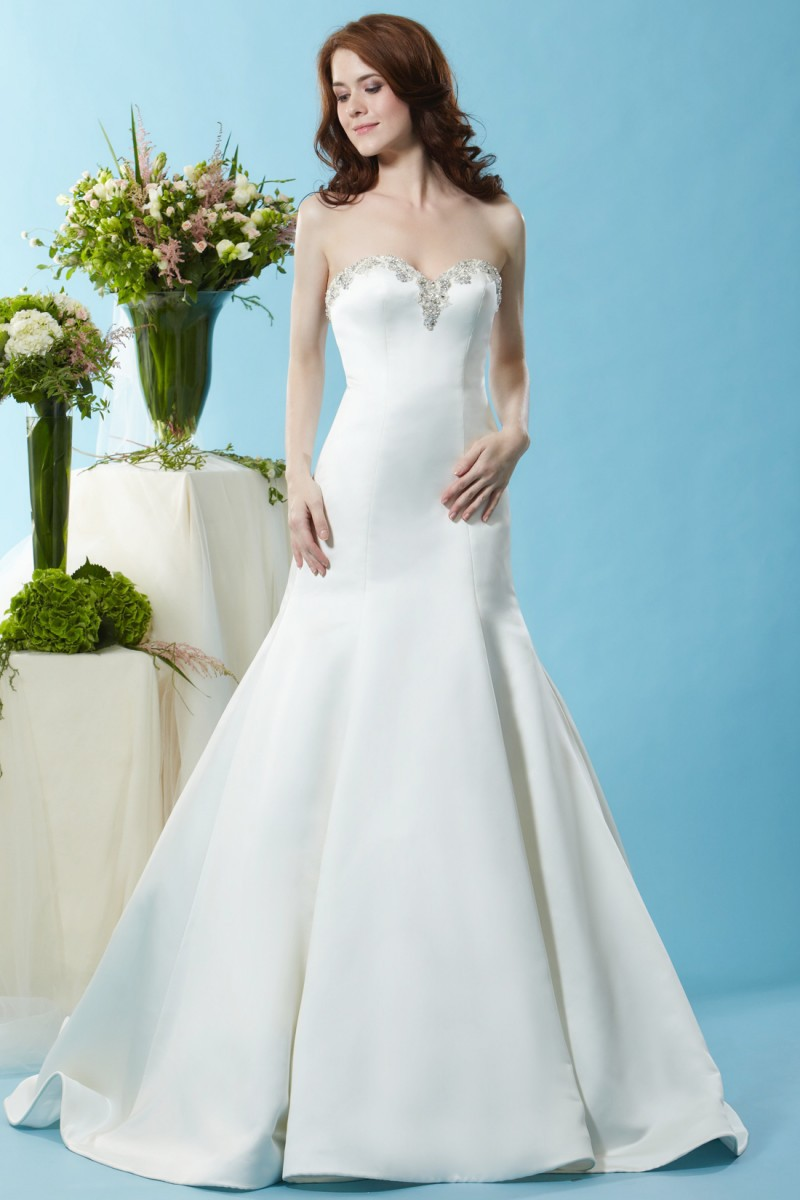 Sweetheart mermaid wedding dress with detachable skirt for Satin sweetheart mermaid wedding dress