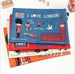 Newest hot selling cute flying over London A4 canvas paper bags pencil bag /Office & School Supplies free Shipping(China (Mainland))