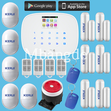 Kerui  LCD Touch Screen GSM SMS Wireless Alarm Security Home System Support Android IOS APP Control inti-pet+door open remind