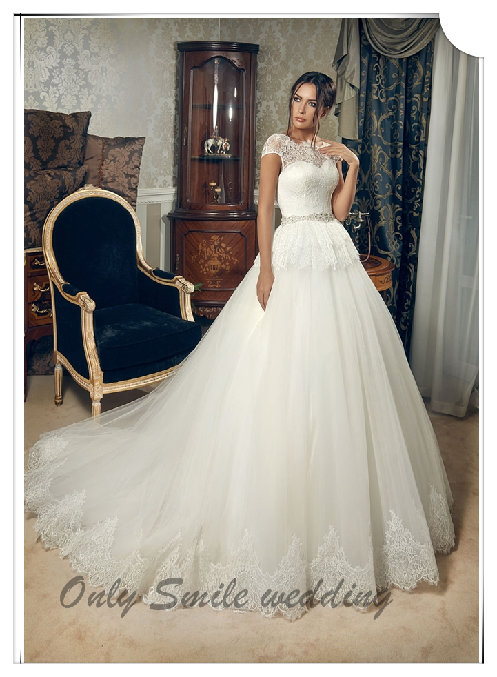 Zj2013 Ball Gown Big Train Vitange Lace Sleeves To Add To