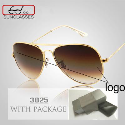 Classic brand Aviator Sunglasses womens mens 58MM Optical Glass Lenses Sun Glasses Driving Eyewear Gold With Original case logo(China (Mainland))