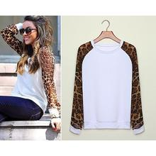 Blouses 2016 Fashion Women Casual Shirts Tops Spring Autumn Long Sleeve Leopard Chiffon Patchwork Casual Blusas Femininas TQ