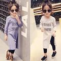 2 6Y 2016 Autumn Girls Shirt Children Fashion Letters Shirt Long Style High Open Fork Shirt