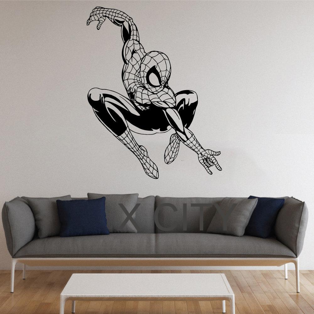 Spiderman Stickers Superhero Vinyl Decals Hollywood Movie Poster American Idol Comics Hero Dorm Nursery Wall Art Murals Decor(China (Mainland))
