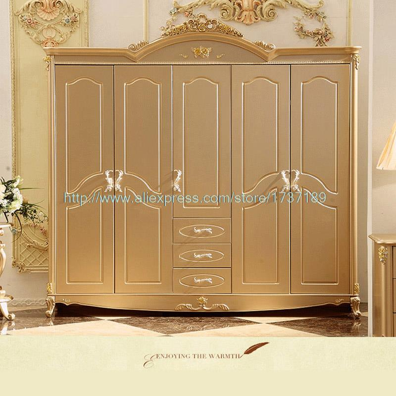 Champagne Gold Storage Wardrobe Wood Carved Five Wardrobe Rubber Wood Bedroom Furniture In