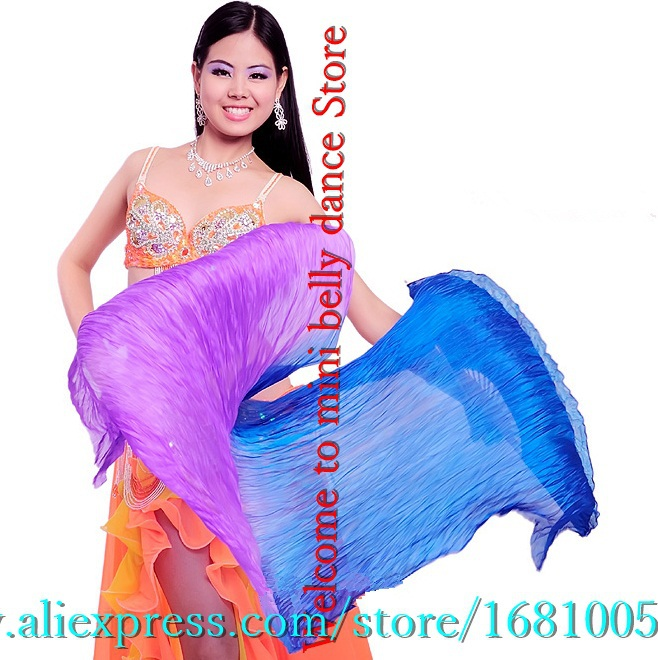 New dyed - color 180 cm length 100% silk veil belly dance fan silk + bamboo enthusiasts to Belly Dancing performance wholesale(China (Mainland))