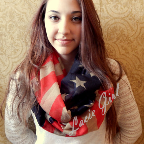 2015 New Fashion American Flag Infinity Scarf Snood USA Scarves For Women /Ladies Free Shipping(China (Mainland))