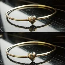 1pc without box Women Gold Heart Bangle Fashion chic thin heart bracelet For Women Jewelry accessories wholesale(China (Mainland))