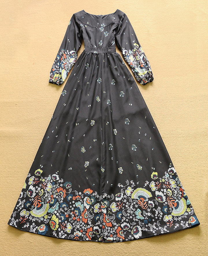 HIGH QUALITY New Fashion 2016 Women's Long Sleeve Vintage Floral Print Black Casual Long Maxi Dress