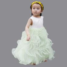 2015 White Lovely Little Girl Bridesmaid Dresses Ruffles Scoop Sleeveless Ball Gown Children Dress Festa Free Shipping AK24(China (Mainland))