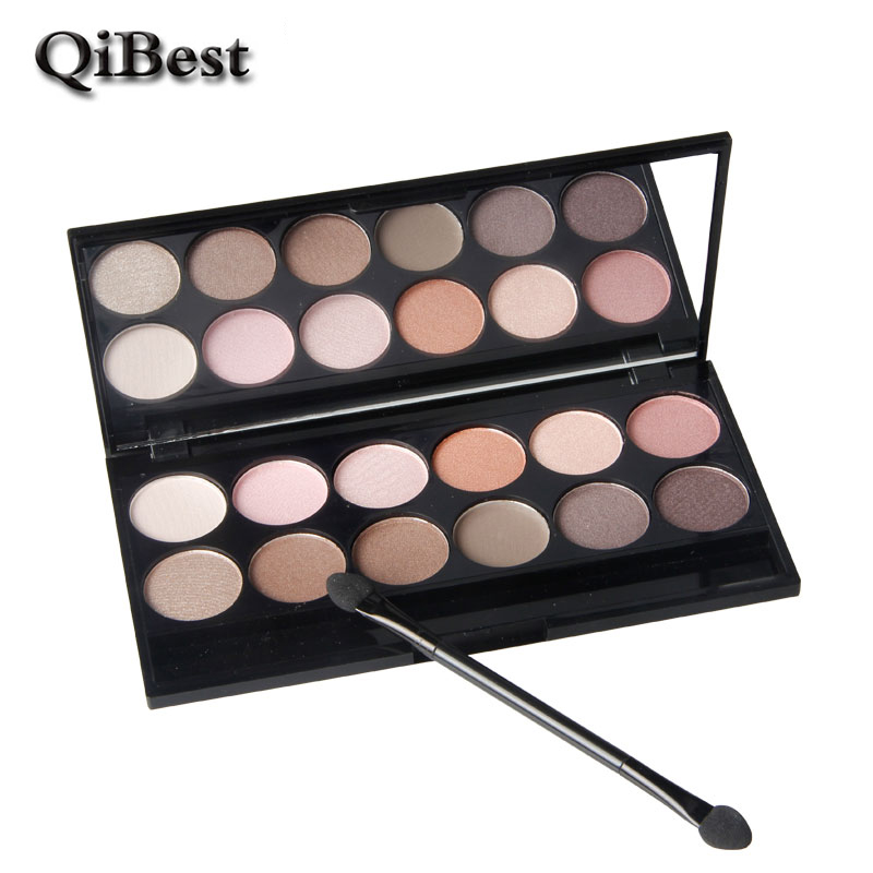 Brand New QiBest 12 Color Eyeshadow Naked Palette Mineral Powder Glitter Eyeshadow Makeup Maquiagem Profissional Golden Brown(China (Mainland))