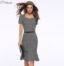 Women Elegant Slimming Work Office Dresses Ladies Houndstooth Knee-Length Mermaid Summer Pencil Bodycon Party Sexy Bodycon Dress(China (Mainland))