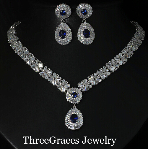 Gorgeous Sliver Plated CZ Diamond Large Royal Blue Water Drop Necklace Earrings African Jewelry Sets For Bridal JS029<br><br>Aliexpress