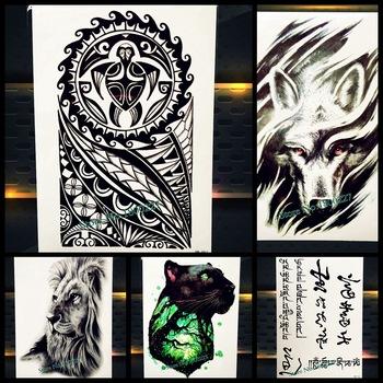 Spray Men Power Totem Temporary Tattoo Turtle Design Fake Flash Waterproof Tattoo Sticker, Women Body Art Tatoo Large Arm Sleeve
