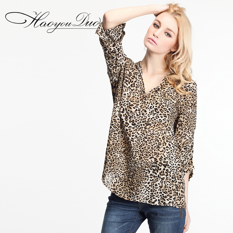 Haoyouduo 2014 spring and autumn new female V leading leopard sexy loose seven point sleeve cardigan shirt 3003Одежда и ак�е��уары<br><br><br>Aliexpress