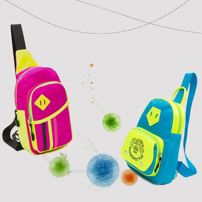 2015 new fashion shoulder bag casual Rainbow Chest pack casual colorful Tactical Nylon Outdoor Sports bags Zipper boys girls(China (Mainland))