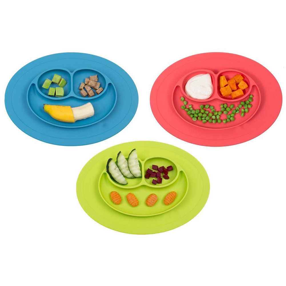 Silicone Feeding Food Plate Tray Dishes Food Holder for Baby Toddler Kid Children 6colors