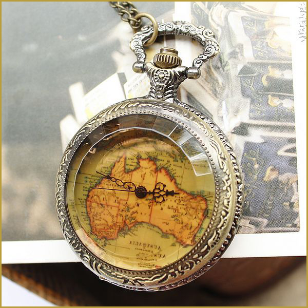 2015 Hot Sale Vintage Antique Style Quartz Pocket Watch Flower Back Map Shape Pocket Watch Saat(China (Mainland))