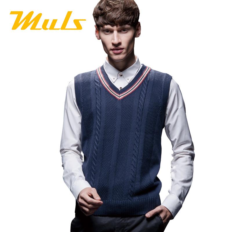 Cricket sweater men style 2015 MULS brand casual 6xl sleeveless polyester standard wool knitted vest dress iceberg casaco SH703X(China (Mainland))