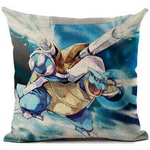 Pokemon funda de cojín de lino de dibujos animados impreso almohada cubierta sofá almohada decoración de hogar anime funda de almohada 45*45cm(China)